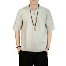 Summer Men's Short Sleeve V neck Cotton Linen T-Shirt Plain Chinese style New
