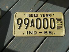 1966 66 INDIANA IN SAMPLE LICENSE PLATE NICE TAG RARE ONE = ORIGINAL