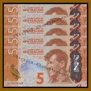 New Zealand 5 Dollars x 5 Pcs, 2015 P-New Penguin Polymer Unc