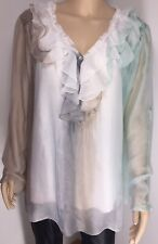 Silk Tunic Frilled Sequins White Pastels Stretchy Liner Soft Silky One Size