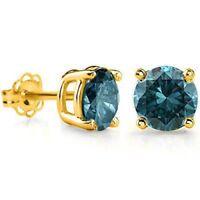 1/5 CARAT BLUE DIAMOND 14KT SOLID GOLD EARRINGS STUD