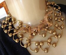 Vintage Long Beaded Ring Necklace or Belt & Flying Double Seagull Brooch Lot