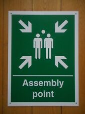Assembly point 400 x 300mm (Approx A3) 3mm Ridge Plastic Pre Drilled Sign