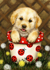 New Large Toland Potted Puppy Flag Golden Retriever Lab Puppy Ladybugs 28 x 40