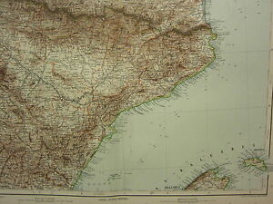 1907 DATED MAP ~ SPAIN NORTH EAST ~ PYRENEES TARRAGONA TERUEL CASTELLON