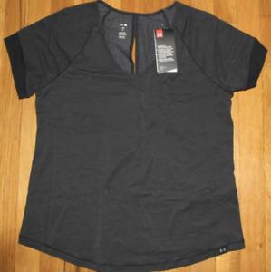 UNDER ARMOUR Women's Black Athlete Recovery Short Sleeve Sleepwear Shirt - SMALL