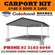 DONDEX Double Carport Kit 6.14x6.0x2.4 Gable Colorbond Roof Gutters Facia Barge