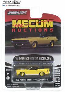 1/64 Greenlight Mecum Auctions 1970 Plymouth Hemi Cuda Convertible Yellow Neuf