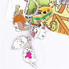 Neko Atsume ねこあつめ Kitty Collector Snowball Tubbs Metal Pendant Keychain Charm