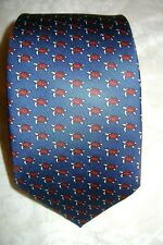 New Macclesfield 100% silk twill rich navy blue tie with red turtles