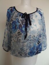 WALLIS PETITE sheer blue/white navy trim front ties elastic waist top blouse – M