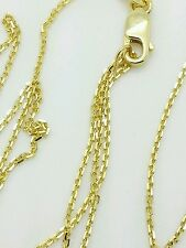 "14k Solid Yellow Gold Adjustable Cable Necklace Pendant Chain Up to 30"" .9mm"