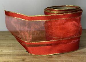 Wide Red & gold Wired valentine ribbon Sheer SOLD PER METER  Cards crafts Hamper