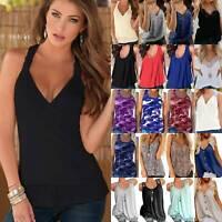 Ladies Women's Tank Top Vest Sleeveless Loose Summer Beach Casual T-Shirt Blouse