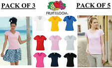 PACK of 3 / 5 FOTL Valueweight Lady Fit Womens Ladies V Neck T Shirt XS-XXL