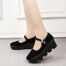 Old Beijing Cloth Shoes Womens Platform Pumps Buckle Wedge Mid Heels Work Shoes