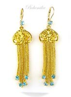Vintage Antique Art Nouveau Deco Czech Glass Earrings Gold tone Dangle Aqua