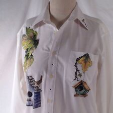 L (14) Bird Lovers Shirt Top Blouse LS Button Front Bird Houses Embellished