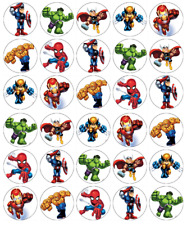 30 x Marvel Avengers Cupcake Toppers Edible Wafer Paper Fairy Cake Toppers