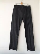 TRUCKER - Vintage-  Black Leather Trousers - Jeans Style - W36 X L38 - Exc Cond