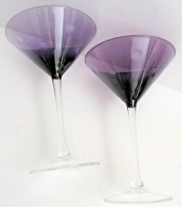 """Set of 2 Purple Dots Martini Cocktail Glasses From Pier 1 Pristine 7"""" Tall NEW"""