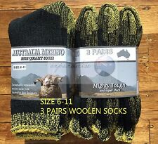 3 PAIRS 6-11 HEAVY DUTY AUSTRALIAN MERINO EXTRA THICK WOOL SOCKS BLACK/YELLOW