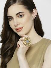 Indian Bollywood Designer Party Wear Gold Plated Adjustable Kundan Big Ring