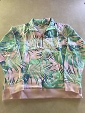 NWT Victoria's Secret PINK Campus Quarter ZIP Pullover Tropical Sweatshirt S