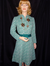 Late 1960's or Early 1970's Abstract Green Print Sears & Roebock Dress Sz Small