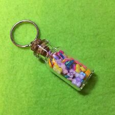 Miniature Kawaii Polymer Clay Bows Glass Bottle Keyring Cute Funky Gift