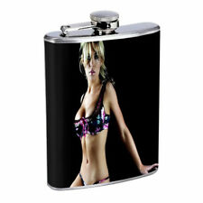Rock & Roll Pin Up Girls D8 Flask 8oz Stainless Steel Hip Drinking Whiskey