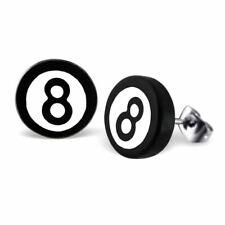 Mystic 8-Ball Pool Ball Stainless Steel Stud Earrings - Boxed Retro Jewellery