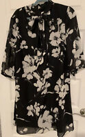 NWoT J Howard Black and White Floral Fully Lined 3/4 Sleeve Bow Dress Size 16