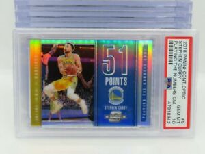 2018-19 Contenders Optic Stephen Curry Playing the Numbers Game PSA 10 GEM V6