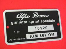 Targhetta dati Alfa Romeo Giulietta SS