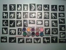 40 tattoo stencil for glitter tattoos + 10 glitter colours boys girls inc FROZEN
