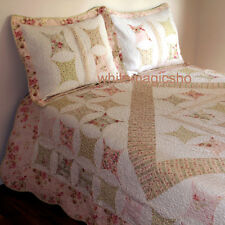 Applique Patchwork Cotton Quilted Bedspread 3PC Queen