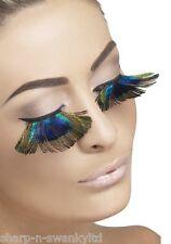 Ladies Long Peacock Feather False Eyelashes Burlesque Hen Party Fancy Dress