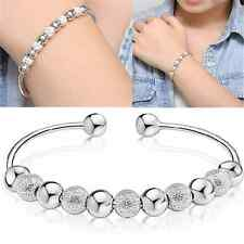 Elegant Men Womens Jewelry Silver Round Bead Charm Lucky Bracelet Bangle Gift