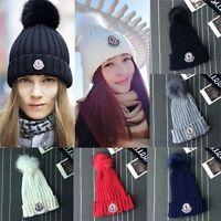 Kids Baby Women Hat Winter Wool Pom Fur Knit Beanie Ski Cap Baggy Bobble Hat