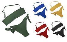 Bikini costume fascia brasiliana moda mare donna spallina removibile + colori