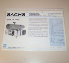 Typenblatt / Technische Daten Sachs Rasenmäher Motor SB 125, ST 150 - Stand 1975