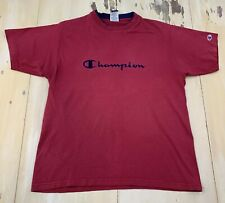 CHAMPION: Vtg 90s Spellout Layered-look Dark Red Made In USA T-shirt, Mens LARGE