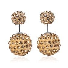 Ear Studs Round Pave Champagne Rhinesto Sexy Sparkles Clay Earrings Double Sided