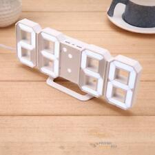 Large 3D Modern Digital LED Skeleton Wall Clock Timer 24/12 Hour Display White