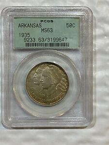 1935 Arkansas Centennial Commemorative Silver PCGS MS63 Old Green Holder OGH