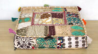 """18X18"""" Square Indian Beige Multi Patchwork Cushion Cover Cotton Pouf Cover Throw"""