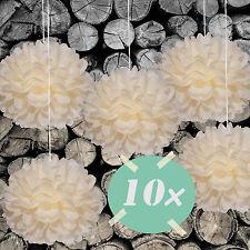 DIY PomPoms 10er Set 30cmØ,Hochzeit,Papierblume,PomPon aus Seidenpapier vanille