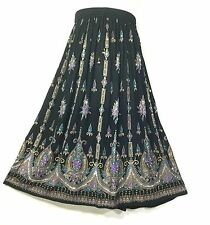 Bollywood Indian Boho Hippie Long Sequin Skirt Mexican Tribal Peasant BlackPurpl