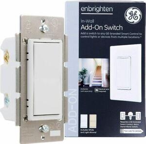 GE Enbrighten Add-On Switch for GE Z-Wave/GE Zigbee Smart Lighting Controls, Wor